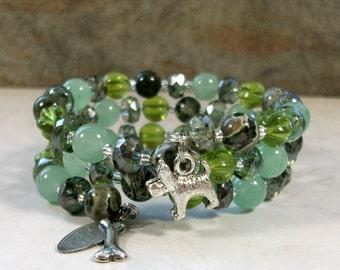 Sage Green Jasper, Aventurine, Glass, Crystal and Silver OOAK Scottie Coil Bracelet - B-204s