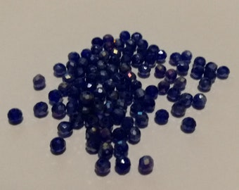 Faceted glass bicone bead 3 x 3 mm