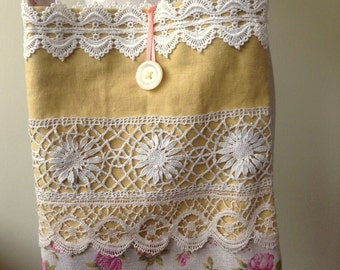 SALE- OOAK shabby chic lace and linen shoulder bag, Mother's Day gift