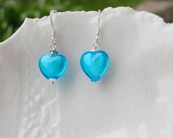 Small Murano Glass Heart Earrings, 10mm Earrings