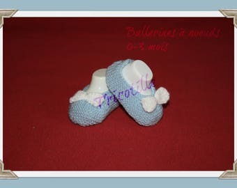 Pair of baby shoes-knitted blue and white ballerina shape