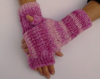 Hand Knit Pink Fingerless Gloves. Striped Mittens. Comfy Hand Warmers. Texting Gloves. Gift for her.