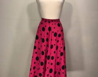 80s fuchsia pink polka dot skirt swing skirt  full pink and black polka dot skirt bold print skirt