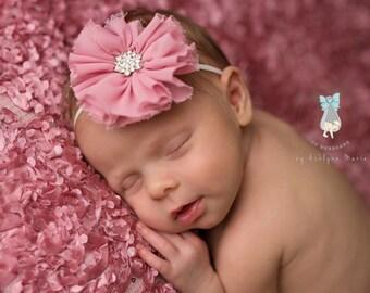 Newborn Headband, Baby Headband, Girls Headband, Toddler Headband, Dusty Rose Headband, Photo Prop, Shabby Headband