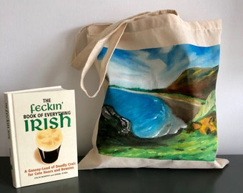 Erin Coastal Tote: Gift Bag- Book Bag- Housewarming Gift- Grocery Tote- Cotton- Ecofriendly