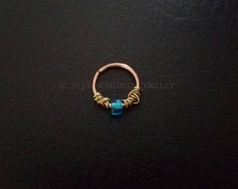 """14kt Rose Gold Filled 20g 18g 16g 5/16"""" 8mm 3/8"""" 10mm Dainty Septum Cartilage Nose Ring Daith Helix Tragus Lip Nose Ring Body Jewelry"""