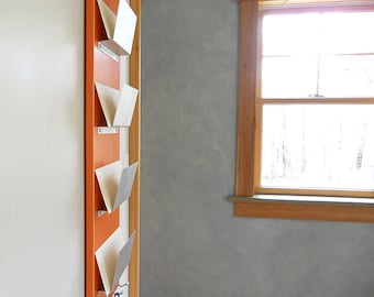FAMILY MAIL ORGANIZER: Wall Mount Family Mail Organization, Orange Modern Mail Storage Key Hooks for Office or Home Entry Decor.