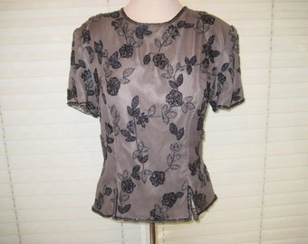 Sequined beaded gray black blouse, 80s top, scala blouse, formal party blouse, medium