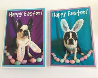 Set of 4 Boston Terrier Easter note cards. Inside is blank. White envelopes included.
