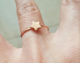 Rose gold winziger Stern Ring Gr. 6
