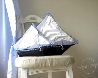 Nautical Pillow Set Sailing Dreams - Nautical Art Nautical Chic! Home decor, Sea Style. Elegant gift!