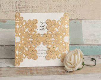 Gold Lasercut Wedding Invitations. Gold Wedding Invitation. Laser Cut. Gold Wedding Invitation. Modern Wedding. Elegant Wedding Invite.