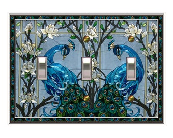 0299A - Stained Glass Blue Peacock (not actual glass) - mrs butler switch plate covers -