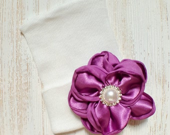 Baby girl newborn hat with Orchid satin flower- newborn hospital hat, newborn beanie, baby girl newborn, orchid baby hat, baby shower gift