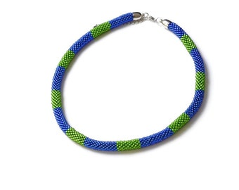 Crochet necklace Blue Green Bead necklace, Seed beads crocheted necklace, Bright colors Beadwork choker, Cobalt blue necklace, Chartreuse