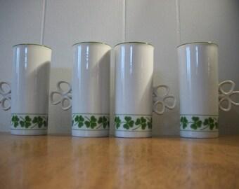 Vintage Porcelain Ceramic China 4 pc Shamrock Handle Green Shamrock Clover Painted Irish Coffee Mugs Made in Japan