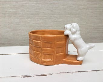 Vintage SYLVAC Small Terrior Dog Basket Planter / Pot 1996