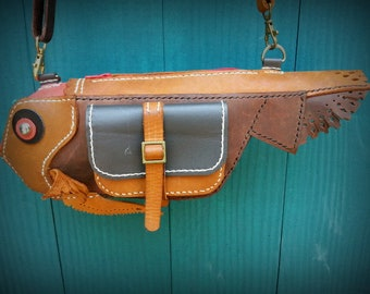 Leather Bag,Crossbody,Fishsho Image,Made only 1 piece.