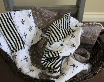 Palm Tree Rag Quilt, Baby Crib Quilt, Rag Quilt, Black And White, Neutral Quilt, Baby Quilt, Baby Gift, Stripes Baby Quilt, Ready To Ship