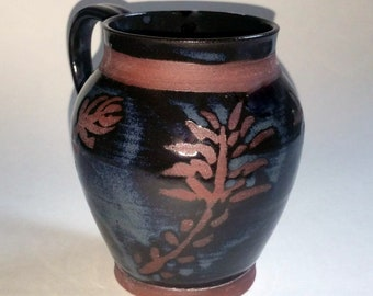 Black and Smokey Blue Floral Mug - Wheel Thrown Pottery - Holds 20 ounces or 2 1/2 cups with some room to spare! Made with Red Clay