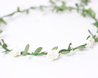 White Flower Crown, White Floral Crown, Wedding Floral Crown, Bridal Flower Crown, Hair Wreath, Bridal Hairpiece, Ivory Floral Hair Piece