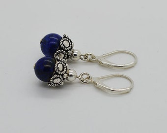Lapis With Lever Back Sterling Silver Earrings 62