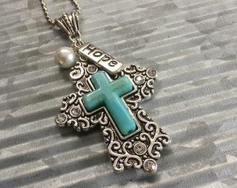 Filigree and Turquoise Cross Pendant, Faith Jewelry