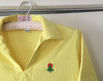 Vintage 70's yellow polo with tree on fire embroidery