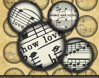 Shaded Love Notes 1 inch circles- Digital Collage Sheet from vintage sheet music-- Instant Download