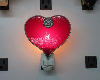 Heart Nightlights - Pink & Red Hearts - Ready to Ship Now (January 2018) -  Traditional Stained Glass
