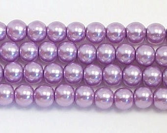 4mm Lavender glass pearls - 16 inch strand Grade AAA 4mm glass pearls