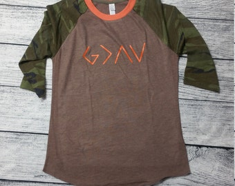 God is Greater than the Highs and Lows 3/4 Sleeve Raglan