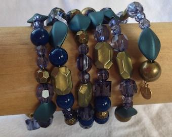 Blue Aqua Beaded Memory Wire Bracelet