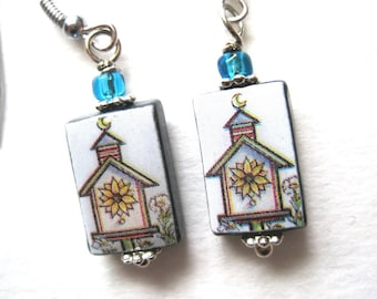 Flower Bird House dangle earrings.  Petite Mother of Pearl Shell Earrings. Handmade.