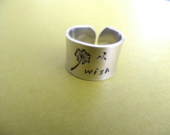 Wish Ring - Dandelion Ring - Custom Ring - Thick 1/2 inch, Aluminum, Adjustable