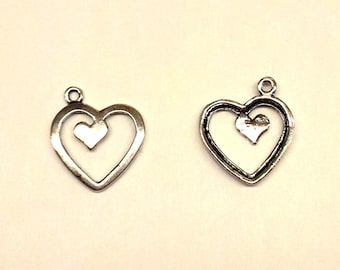 Set of 5 hearts T34 silver metal charms