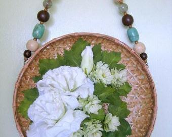 Boho Wall Hanging, Boho Cottage Decor, Floral Wall Hanging, White Flower Arrangement, Basket Prairie Wildflowers