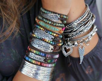 Triple Wrap Jewelry, Wrap 3 Times Boho Bracelet, Leather Hippie Bracelet, Modern Hippie Leather Wrap Bracelet, Triple Wrap Hippie Bracelet