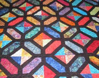 Queen Quilt - Paper Pieced Stained Glass Batik Quilt