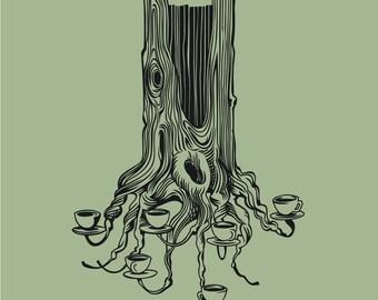 large tea tree stump vinyl wall decal
