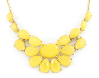 Pretty Gold-tone Bright Yellow Statement Necklace