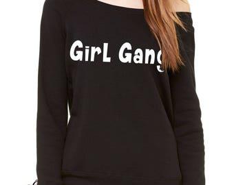 Girl Gang Slouchy Off Shoulder Oversized Sweatshirt