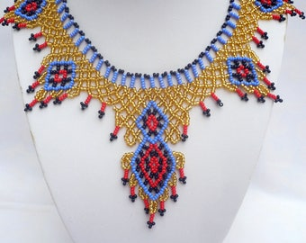 Egyptian style beadwork choker necklace, Cleopatra necklace, ethnic beaded collar necklace, seed beaded statement necklace, netted necklace