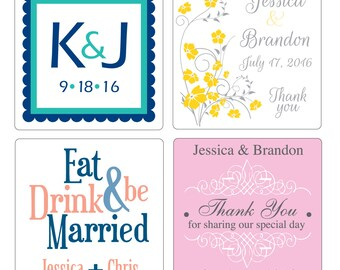 150 - 1.5 inch Custom Glossy Waterproof Wedding Stickers Labels - many designs to choose - change designs to any color, wording etc