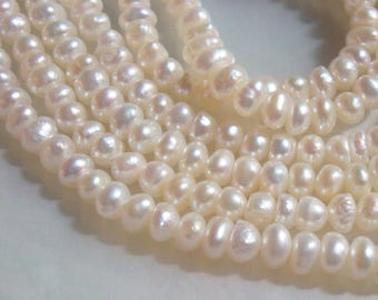 Wonderful Lustrous Seed Pearl, Creamy White Fresh Water Pearls, 15 Inch Strand, RARE, 3-3.5mm