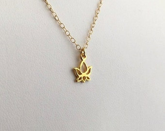 Gold Lotus Necklace, Tiny Gold Necklace, Lotus Necklace, Yoga Necklace, Flower Necklace, Good Luck, Gold Filled Necklace, Dainty Necklace