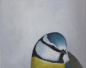 Blue Tit Bird Painting - Blue Yellow White Cute Garden Wildlife Bird Original Acrylic Art on Canvas
