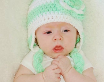 Mint green and white stripe hat with flower