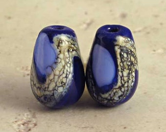 Teardrop Lampwork Glass Bead Pair with Organic Web Small Midnight and Periwinkle