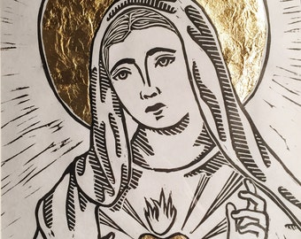Immaculate Heart of Mary Linocut Print